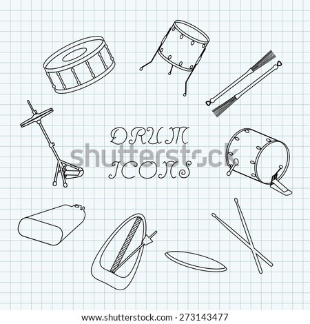 Linear drum icons on the notebook sheet in a cage. Doodle. Vector illustration - stock vector