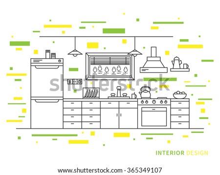 Vector graphic concept of kitchen interior design stock vector
