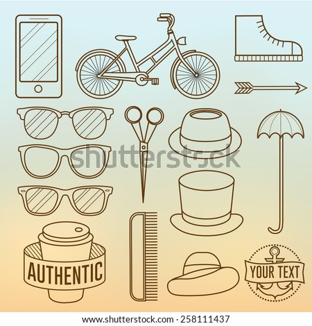 Linear Hipster Objects - stock vector