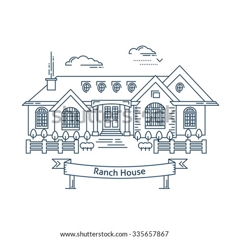 Linear house icon. Line art style modern vector illustration. Real estate concept. One-storey ranch house design. Thin line monochrome isolated. Web design and realty advertisement. - stock vector
