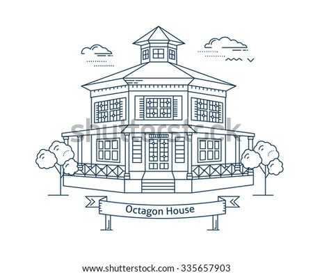 Linear house icon. Line art style modern vector illustration. Real estate concept. Two-storey octagon house design. Thin line monochrome isolated. Web design and realty advertisement. - stock vector