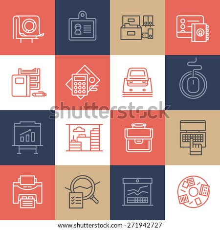 Linear icons of office routine, business processes, corporate environment and office stationery. Modern vector icons with flat design elements on color tiles - stock vector