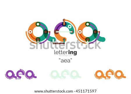 Linear initial letters, logo branding concept, cartoon funny style - stock vector