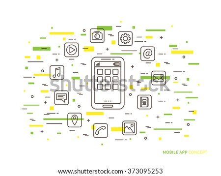 Linear mobile app (phone application, mobile content) flat vector illustration. Smartphone app icons (multimedia app, software development) graphic creative concept. Smartphone with applications.  - stock vector