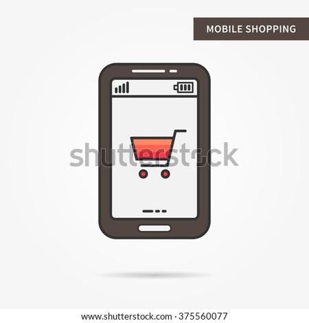 Linear mobile shopping. Flat phone online shopping app. Mobile web shopping (purchase, buy) technology symbol. Creative mobile shopping graphic design. Vector shopping software illustration.  - stock vector