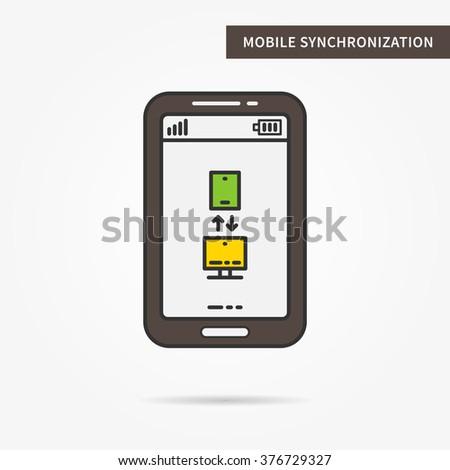 Linear mobile synchronization (sync) app. Synchronization (sync) flat phone. Synchronization (sync) data. Synchronization (sync) app. Synchronization (sync) data transfer. Sync software illustration. - stock vector