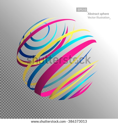 Linear sphere, technology concept, technological development and coverage of the entire earth, abstract illustration. - stock vector