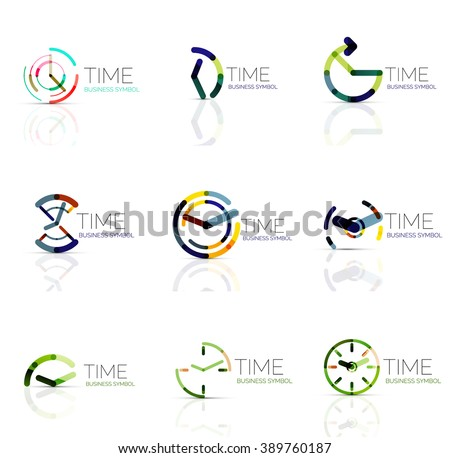 Linear time and clock abstract logo set, connected multicolored segments of lines. Vector minimal wire business icons isolated on white. Flat design - stock vector