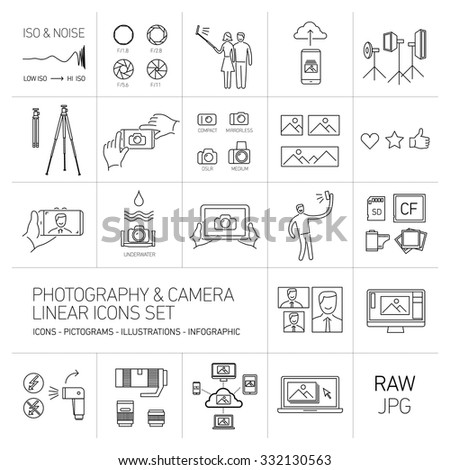 linear vector photography and camera icons set black isolated on white background | illustrations of gear and equipment for professional photographers and amateurs - stock vector