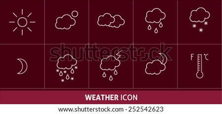 Linear vector weather icons - stock vector