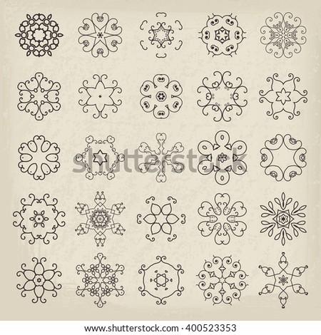 Lineart circular mandalas set. Vector arabic geometric symbols - stock vector