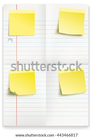 Lined and folded school paper with yellow sticks on the white. Eps 10 vector file.  - stock vector
