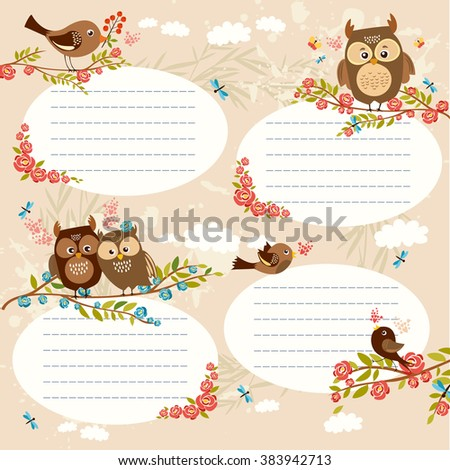 lined space for text. set of cute birds and owls. spring birds in love. bright spring flowers. vector illustration - stock vector
