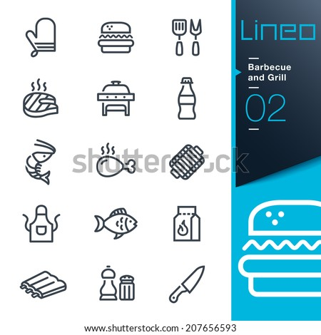 Lineo - Barbecue and Grill outline icons - stock vector