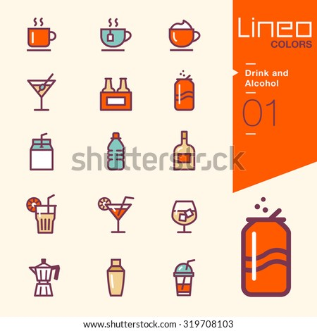 Lineo Colors - Drink and Alcohol icons - stock vector