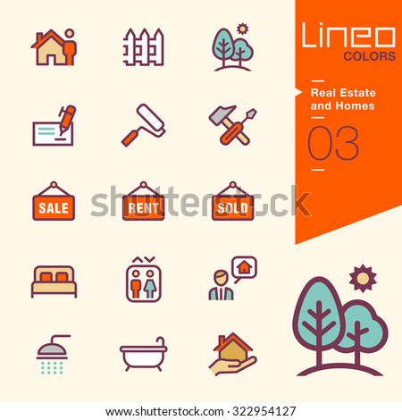 Lineo Colors - Real Estate and Homes icons - stock vector