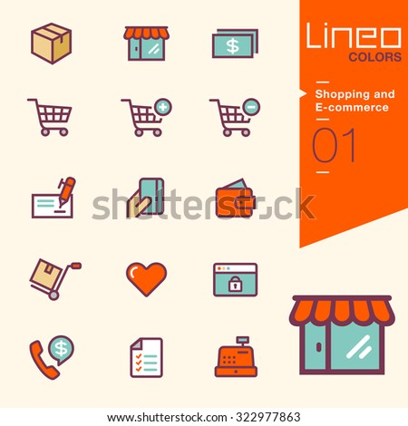 Lineo Colors -  Shopping and E-commerce icons - stock vector