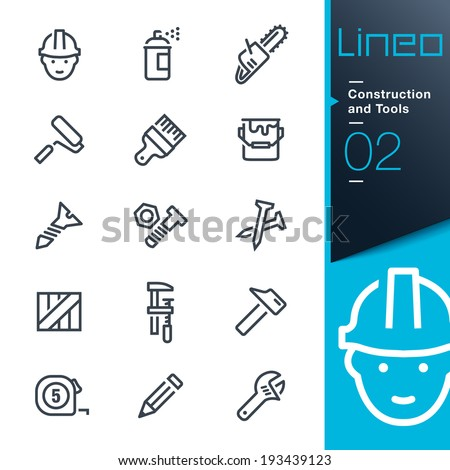 Lineo - Construction and Tools outline icons - stock vector