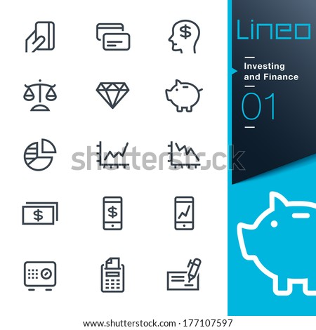 Lineo - Investing and Finance outline icons - stock vector