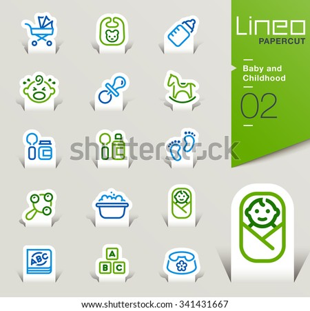 Lineo Papercut - Baby and Childhood outline icons - stock vector