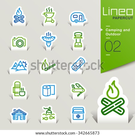 Lineo Papercut - Camping and Outdoor outline icons - stock vector