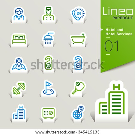 Lineo Papercut - Hotel and Hotel Services outline icons - stock vector