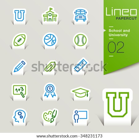 Lineo Papercut - School and University outline icons - stock vector