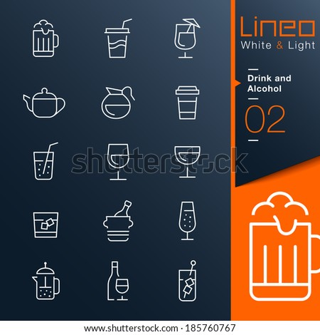 Lineo White & Light - Drink and Alcohol outline icons - stock vector