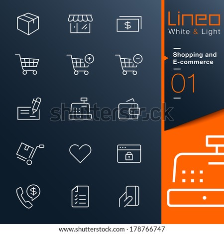 Lineo White & Light - Shopping and E-commerce outline icons - stock vector