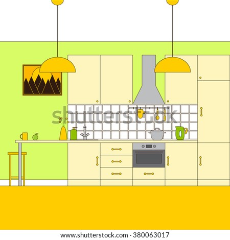 Liner flat style kitchen interior. Furniture, extractor hood, built-in appliances, electric kettle, rail on ceramic tile wall with oven-glove, spoon, spatula, dishes, apple, sink, tap, lamp, bar stool - stock vector