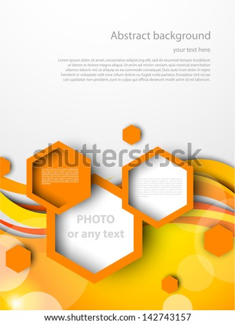 Lines and squares in orange color - stock vector