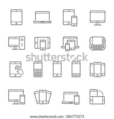Lines icon set - responsive devices  - stock vector