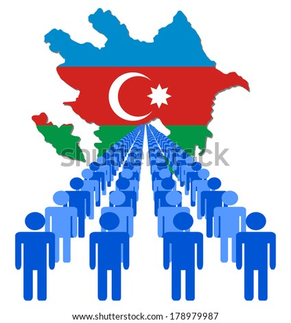 Lines of people with Azerbaijan map flag vector illustration - stock vector