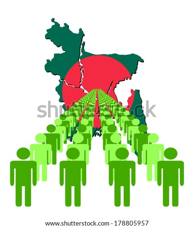 Lines of people with Bangladesh map flag vector illustration  - stock vector