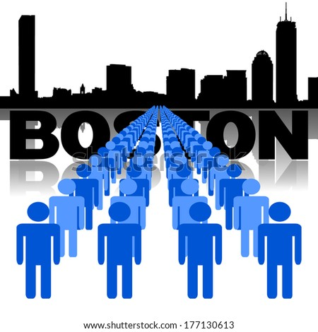 Lines of people with Boston skyline vector illustration - stock vector