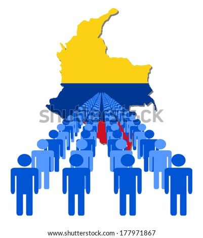 Lines of people with Colombia map flag vector illustration - stock vector