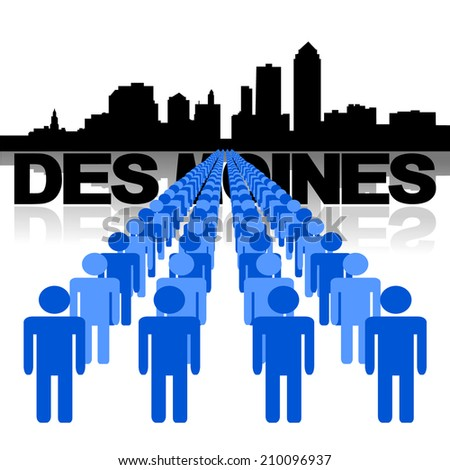 Lines of people with Des Moines skyline illustration  - stock vector