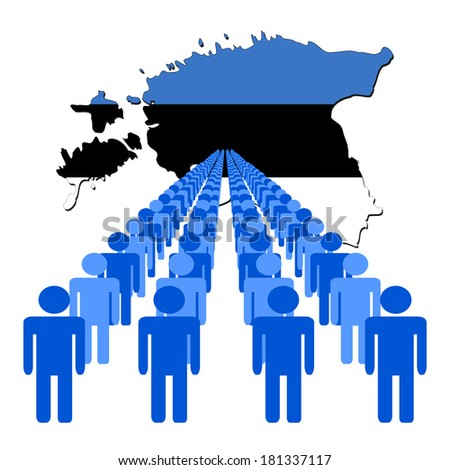 Lines of people with Estonia map flag vector illustration - stock vector