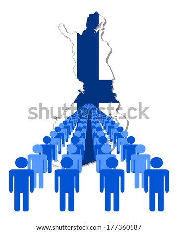 Lines of people with Finland map flag vector illustration - stock vector