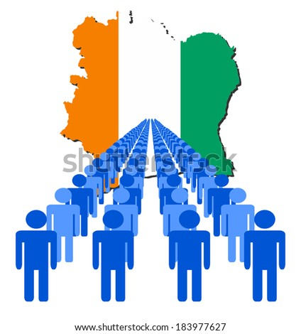 Lines of people with Ivory Coast map flag vector illustration - stock vector