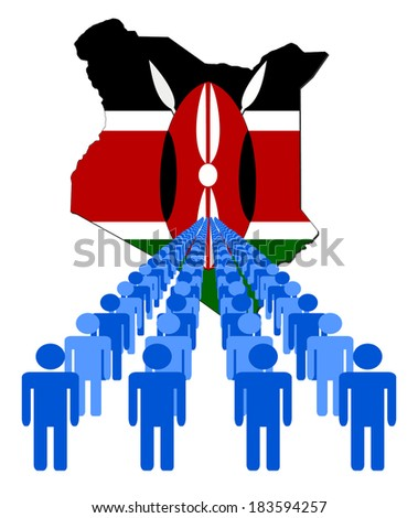 Lines of people with Kenya map flag vector illustration - stock vector