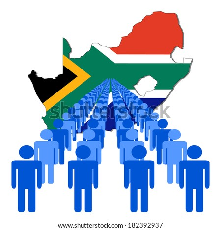 Lines of people with South Africa map flag vector illustration - stock vector