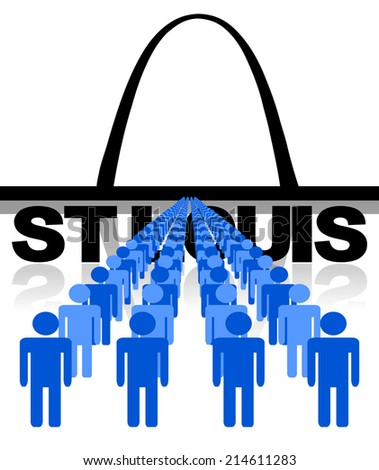 Lines of people with St Louis skyline vector illustration - stock vector