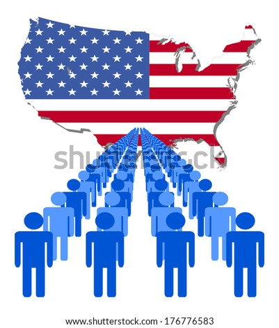 Lines of people with USA map flag vector illustration - stock vector