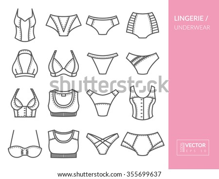 Lingerie and underwear. Set with thin line icons. Vector illustration. EPS 10 - stock vector