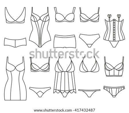 Lingerie icon set. Woman underwear isolated on the white. Colorful vector illustration - stock vector