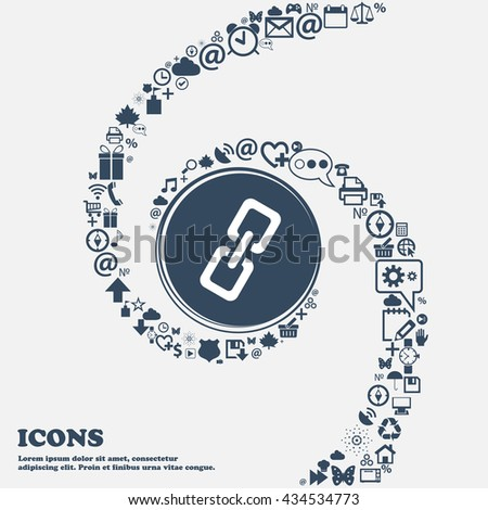 link icon in the center. Around the many beautiful symbols twisted in a spiral. You can use each separately for your design. Vector illustration - stock vector
