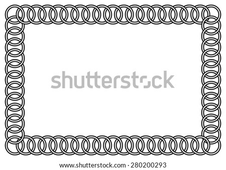 Linked Rings Frame (includes isolated modules for easy editing) - stock vector