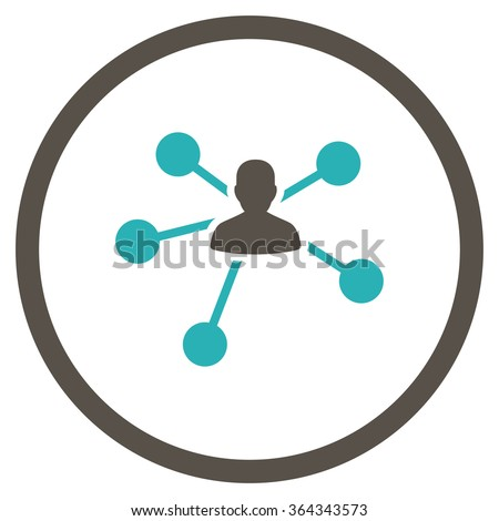 Links vector icon. Style is bicolor flat circled symbol, grey and cyan colors, rounded angles, white background. - stock vector