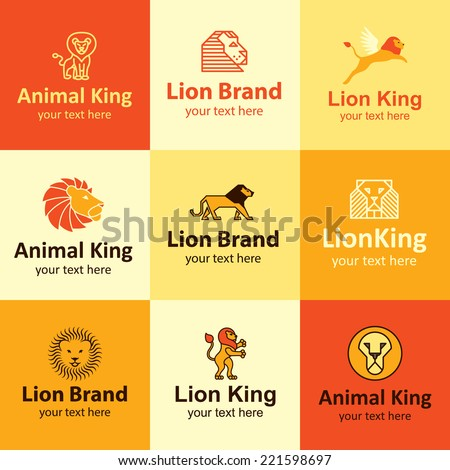 lion flat icons set logo ideas for brand - stock vector